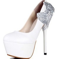 White String Bows Princess Stiletto High Heels Wedding Prom Bridal shoes