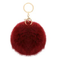 Fur Burgundy Pom Pom Key Chain
