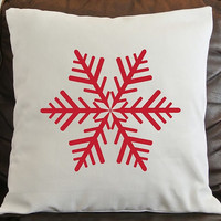 Snowflake Pillow Cover/ NEW DESIGN/  Made to Order / Holiday Pillow