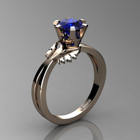 Swan 14K Rose Gold 1.0 Ct Blue Sapphire Fairy Engagement Ring R1030-14KRGBS