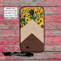 Sunflower Chevron Pattern Wood Grain Marble Vintage Retro Cute Custom Galaxy S5 and S4 and S3 Case and Galaxy Note 2 and Note 3 Case