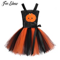 Christmas Pumpkin Pattern Princess Prom Girls Party Dress Kids Tutu Clothes Ball Gowns Dress for Halloween Cosplay Party Costume