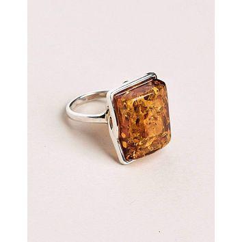 Amber Square Cut Ring - Size 8