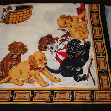 Womens Large Vintage Dog Scarf Puppies Slipper Beach Ball Dog Bones