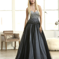 Mac Duggal 62103H Beaded Black Ombre Ball Gown Prom Dress Size 0