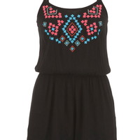 romper with embroidery and scalloped hem