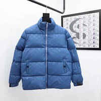 LV Warm Winter Down Jacket Windproof Hooded Collar Men's Parka Male Big Coat Smart Casual Covered Button