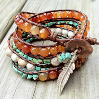 Turquoise and Carnelian Beaded Leather Wrap Bracelet with sterling silver feather charm 5x, African bracelet,