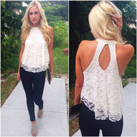 Hot Sale Lace Spaghetti Strap Sexy Club Backless Tops [11545798607]