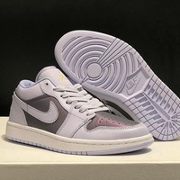 Nike AIR JORDAN 1 AJ1 Purple Women Men Fashion Casual Sports basketball low shoes Size 36-45