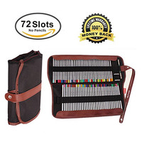 WooCrafts Canvas Pencil Wrap,72 Pencil Holder Colored Pencils Case Roll Multi-purpose Pouch for School Office Art. Soft Pencil Bag for Travel★CYBER MONDAY SALE★