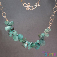 """Turquoise on large hammered circles, 18"""" Necklace Gold Or Silver"""