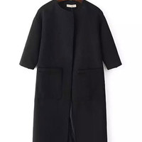 Half Sleeve Big Pocket Woolen Coat