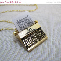 Black Friday Sale Typewriter Necklace Miniature Charm Pendant 18K Gold Plated Brass Type Writer