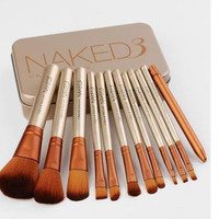 Naked 3 Gold Professional Portable 12pcs Makeup Brushes Set Cosmetic Tool Beauty Cosmetic Foundation Cream _ 3485