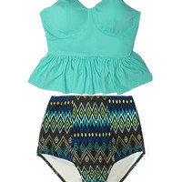 Mint Long Peplum Tankini Top and Aztec Tribute High Waisted Waist Swimsuit Swimwear Swimsuits Bikini Bathing suit suits set sets S M L XL