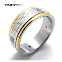Titanium 316L Stainless Steel CZ Greek Key Ring Fashion Men's Jewelry Free Shipping