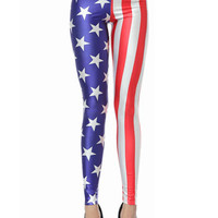 Muiticolor American Flag Print High Waist Stretchy Leggings
