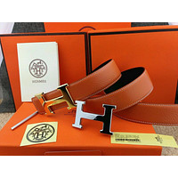 HERMES Double H Gold/Silver Buckle Orange Leather Men's Belt 110CM**