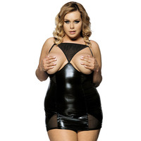 R70338 Babydoll Lingerie Sexy Open Bust Black Mesh Transparent Faux Leather Babydoll Hot Sale Sexy Lingerie Plus Size Babydoll