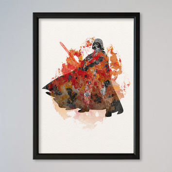 Darth Vader Poster Watercolor Print Fine Art Giclee Movie Poster Decor Star Wars Watercolor Lord Vader Star Wars Fans