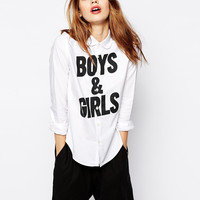 "White ""BOYS & GIRLS"" Print Long-Sleeve with Collar Tee"