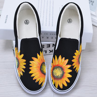 Men&women Original new personalized hand-painted shoes cartoon casual canvas shoes lazy shoes woman Loafers 35-44