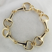 gold snaffle three horse bit bracelet-beautiful handcrafted bit bracelet-horse lovers gift-equestrian bracelet-Lucky Pony Shop