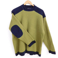 """Vintage 90s Sweater - Boxy Men's Green and Blue Elbow Patch Chenille Trim Oversized Baggy Pullover Jumper - Size Large - Chest 46"""""""