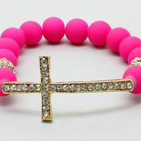 Delicious Pink Dyed Cross Bracelet