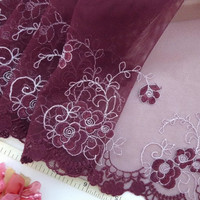 Embroidered lace, tulle trim, garnet net fabric, embroidered flowers 3 1/2 yards RD117