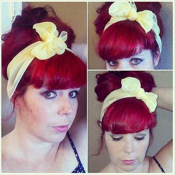 Light Yellow Vintage Style Chiffon Hair Scarf Headwrap Hair Bow 1940s 1950s Rockabilly - Pin Up - For Women, Teens