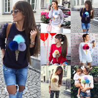 2016 Trending Fashion Floral Printed Women Long Sleeve Round Necked Fluffy Ball Shirt _ 10261