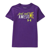 Under Armour 7-16 Just Call Me Awesome Tee - Crush/Yellow Ray/Velocity