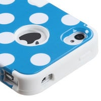For iPhone 4 4S Rubber IMPACT TUFF HYBRID Case Skin Phone Cover Blue Dots