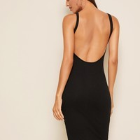 Rib-knit Backless Bodycon Tank Dress