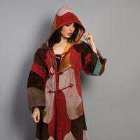 70s Patchwork LEATHER JACKET / Hooded Maxi Wizard Cloak