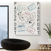 Large Wall Art Original Vacation Passport Stamps on Canvas - Colorful Travel Wall Decor