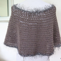 Grey Crochet Circle Poncho, Hand crochet everyday poncho with faux fur trim, gift for her under 50
