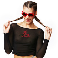 Dragon Tattoo Black Solid Mesh Red Embroidery Long Sleeve T Shirt