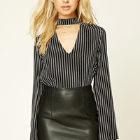 Striped High Neck Cutout Top
