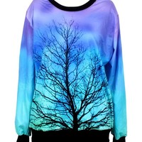Pandolah Fashion Colorful Patterns Print Neon Galaxy Cosmic Sweatshirts Hoodies (Free Size, 1007-17)