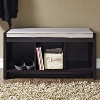 Storage Bench w Cushion Entryway Seat Foyer Bedroom Shoe Organizer Brown Wood