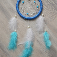 Blue Dream catcher with amazonite gemstone beads, plastic beads, wall decor, wall hanging, nursery decor