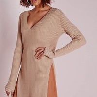 Missguided - V Neck Knitted Rib Tunic Camel