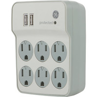 GE 6 Outlet2 USB Port Surge Protector White by Office Depot & OfficeMax
