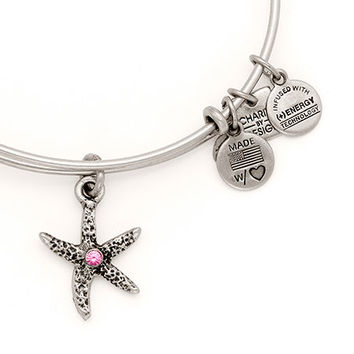 Alex and Ani Breast Cancer Starfish Arms of Strength Expandable Wire Bangle Rafaelian Silver