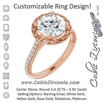 Cubic Zirconia Engagement Ring- The Montserrat  (Customizable Round Cut Halo Design with Filigree and Accented Band)