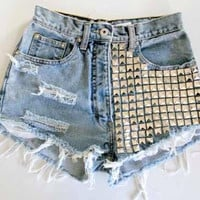 Studded high wasted shorts