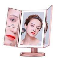 Makeup Mirror Vanity Mirror LED Lighted Tri-fold with Touch Screen and USB Charging, 2017 Latest 180 Degree Rotation Adjustable Stand Cosmetic Desk and Table-top, 1X/2X/3X Magnification (Rose Gold)